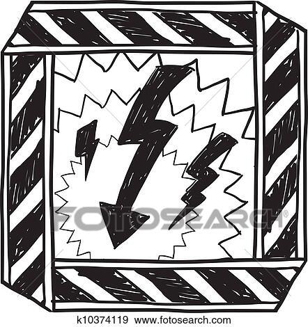 Clip Art Of Electrical Hazard Warning Sketch K10374119