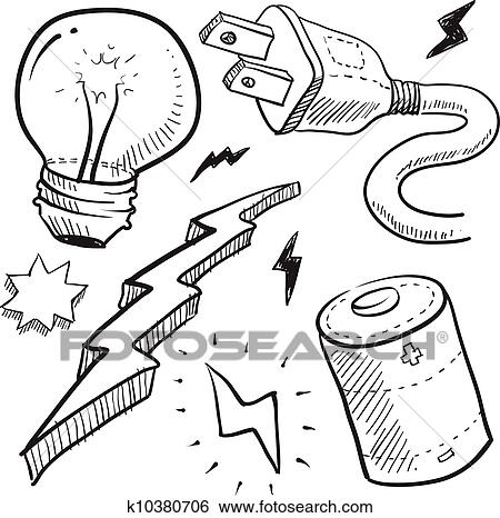 Clip Art Of Electricity Objects Sketch K10380706 Search Clipart