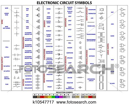 Clip Art of Electronic Circuit Symbols k10547717 - Search Clipart ...