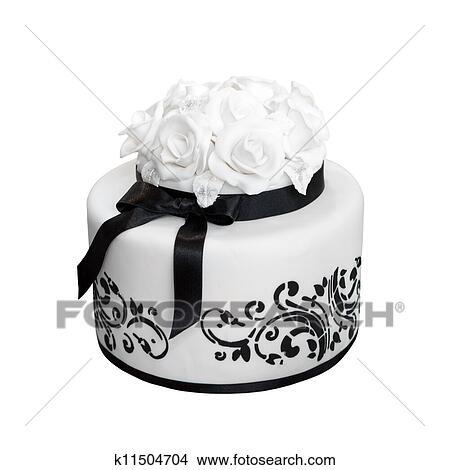 Stock Foto Elegante Schwarz Weiss Hochzeit Kuchen Freigestellt
