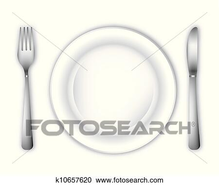 Empty Dinner Plate Clipart K10657620 Fotosearch