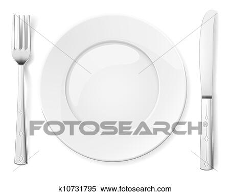 Clipart Of Empty Plate With Knife And Fork K10731795 Search Clip