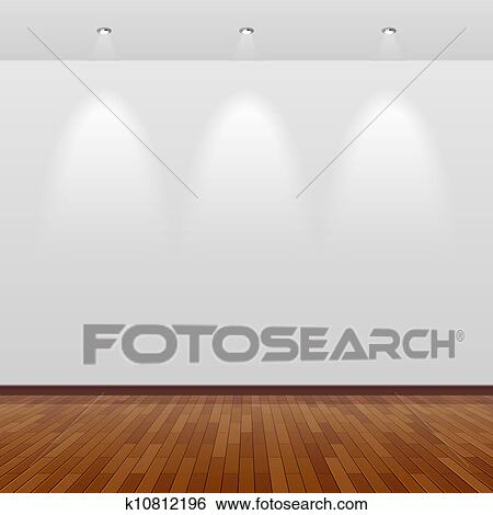 Wood And Wall.Empty Room With White Wall And Wood Clip Art K10812196