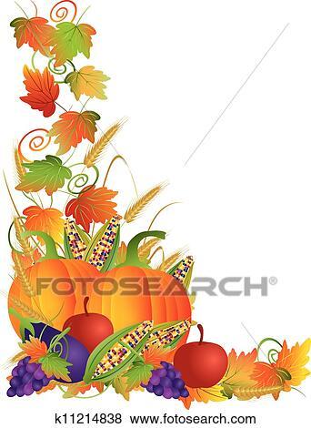 Clip Art Erntedank Herbst Ernte Und Reben Umrandungen