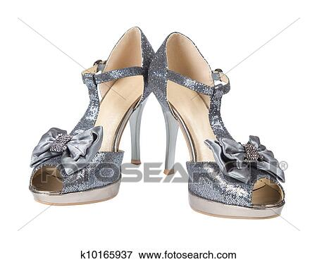 6504d7dd076 Picture of Evening shoes silver high heels k10165937 - Search Stock ...