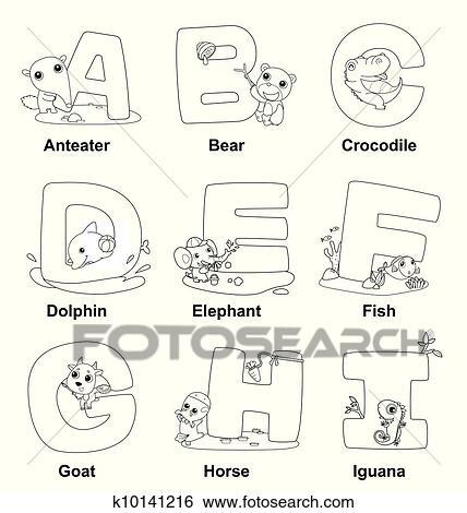 Clip Art - färbung, alphabet, für, Kids,A, to, ich k10141216 - Suche ...