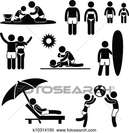 Family Summer Beach Holiday Leisure Clipart K10314195 Fotosearch