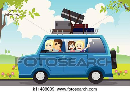 A Vector Illustration Of Family Traveling In Car