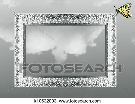 Stock Photo of Fantasy frame and butterfly k10632003 - Search Stock ...