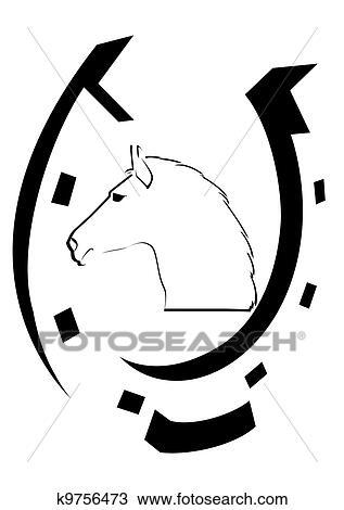 desenho ferradura e a cavalos brancos cabeça k9756473 busca