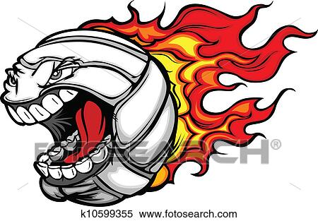 clipart of flaming volleyball ball screaming face vector cartoon rh fotosearch com  free flaming volleyball clipart