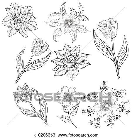 Dessin fleurs ensemble contour k10206353 recherchez - Dessin contour ...