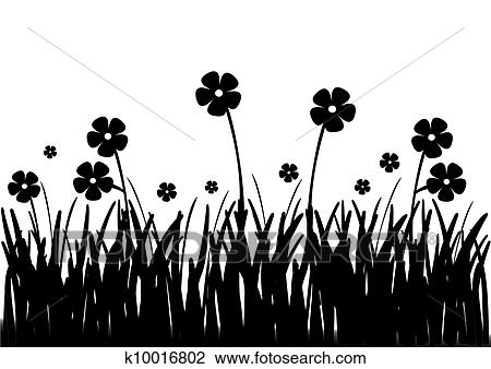 Clip Art Of Flowers In Field Black And White K10016802 Search