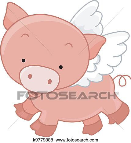 clip art of flying pig k9779888 search clipart illustration rh fotosearch com Pig Clip Art Animated Flying Pig