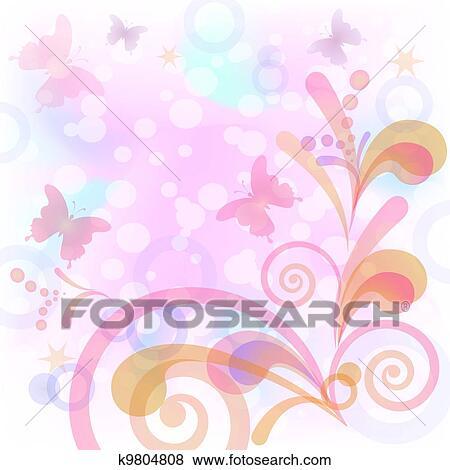 Fondo Con Farfalle E Figure Clip Art K9804808 Fotosearch