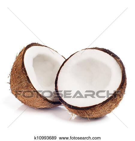 Stock Photograph Of Fresh Coconut On White Isolated Background