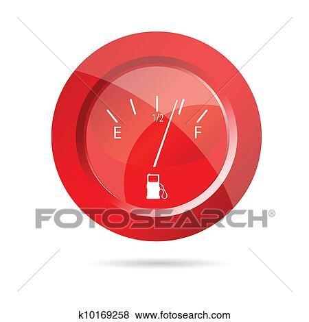 Fuel gauge red icon vector illustration Clip Art
