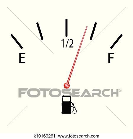 Fuel gauge with symbol vector illustration Clipart