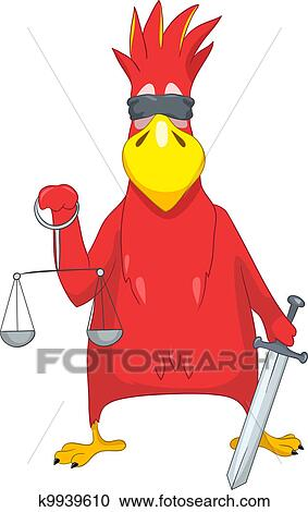 Cartoon Character Funny Parrot Isolated On White Background Law Vector Eps