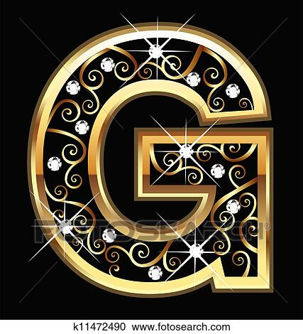 clipart g gold letter with swirly ornaments fotosearch search clip art illustration