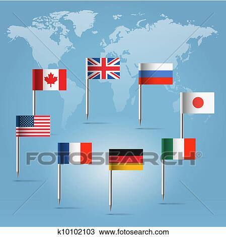 Drawing of g8 flag pins over world map silhouette k10102103 search glossy beautiful pin flags of canada germany russia uk italy france usa and japan hanging in round over light blue world map silhouette gumiabroncs Gallery
