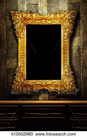 Stock Photography of Gallery display - vintage gold frames on an old ...