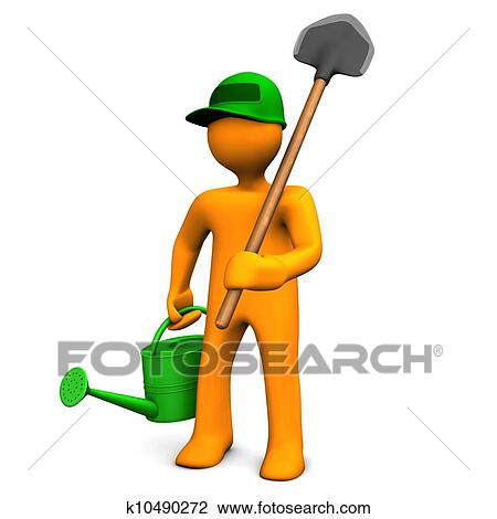 clip art of gardener with watering can and spade k10490272 search rh fotosearch com space clip art black and white space clip art black and white
