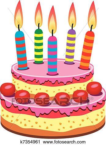 Geburtstagskuchen Clipart K7354961