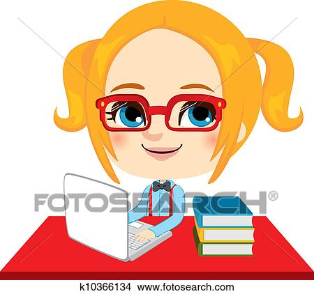 clipart of geek girl student k10366134 search clip art rh fotosearch com boy and girl student clipart girl student clipart black and white