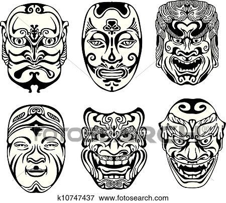 nuovo massimo ultimo stile del 2019 scegli ufficiale Giapponese, nogaku, maschere teatrali Clip Art