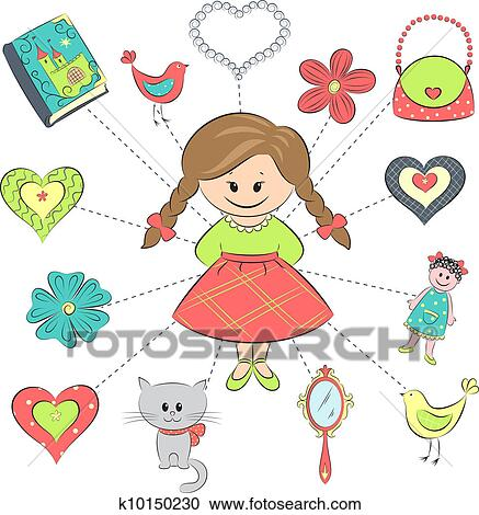 clipart of girl and her things k10150230 search clip art rh fotosearch com clipart of girl singing clipart of girl blowing nose