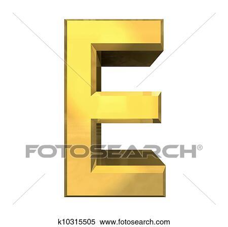 Gold 3d letter E - 3d made