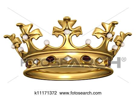 Clip Art Of Gold Crown With Gems K11171372 Search Clipart