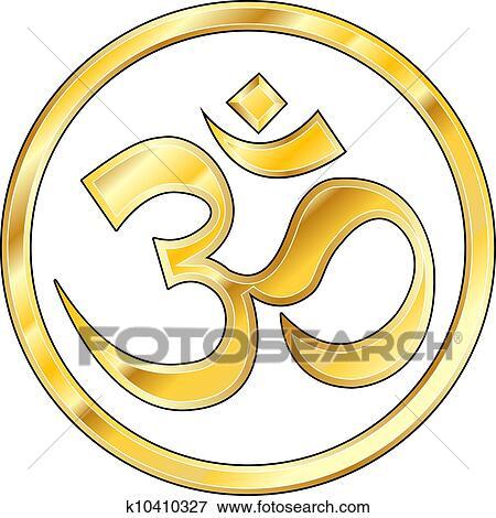 Clip Art Of Gold Hindu Om Vector K10410327 Search Clipart