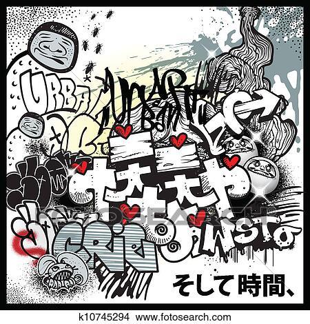 Graffiti urban art elements Clipart