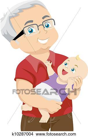 clipart of grandfather and grandchild k10287004 search clip art