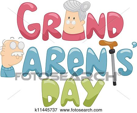 clip art of grandparents day k11445737 search clipart rh fotosearch com national grandparents day clipart grandparents day clipart black and white