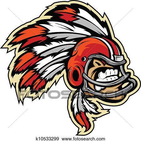 Clip Art Of Graphic Vector Lmage An Indian Chief Football Mascot