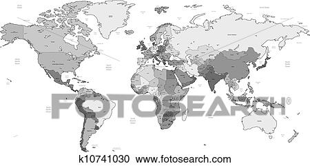 Gray Detailed World Map Clipart K10741030 Fotosearch
