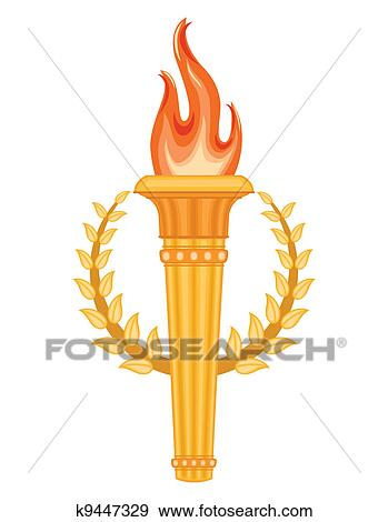 Greek olympic torch clip art k9447329 - Dessin flamme olympique ...