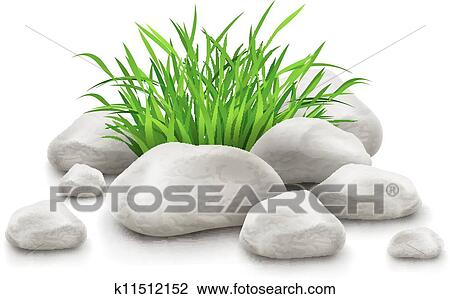 Clipart Of Green Grass In Stones As Landscape Design Element