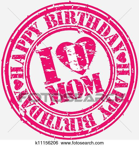 clip art of grunge happy birthday mom vector k11156206 search