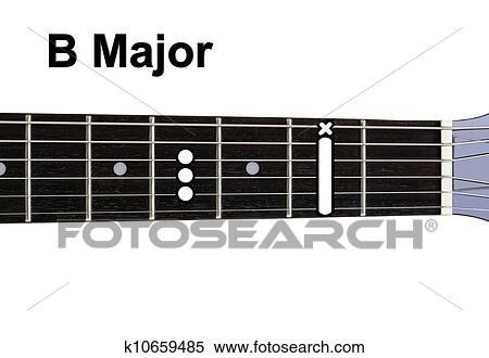 Stock Illustration Of Guitar Chords Diagrams B Major Guitar