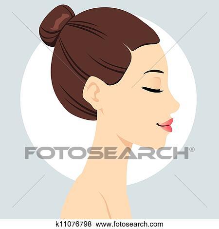 Clip Art Of Hair Bun Hairstyle K11076798 Search Clipart