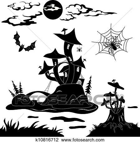 Clipart of Halloween cartoon landscape k10816712 - Search Clip Art ...