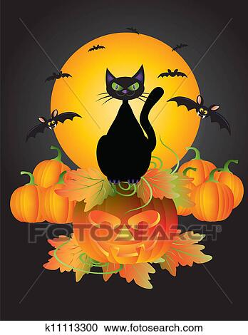 Zucca Halloween Gatto.Halloween Gatto Nero Su Intagliato Zucca Illustrazione Clipart