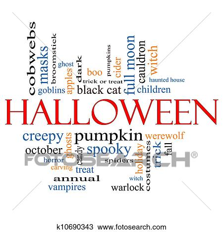 drawing halloween word cloud concept fotosearch search clipart illustration fine art
