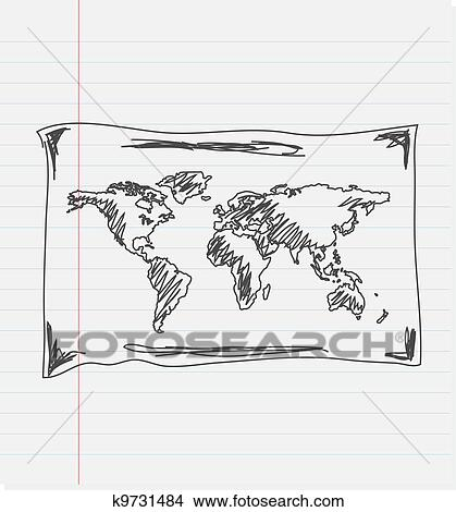 Hand Drawn Map Of The World.Clipart Of Hand Drawn Map Of The World K9731484 Search Clip Art