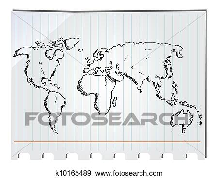 Clip Art of hand drawn world map k10165489 - Search Clipart ...