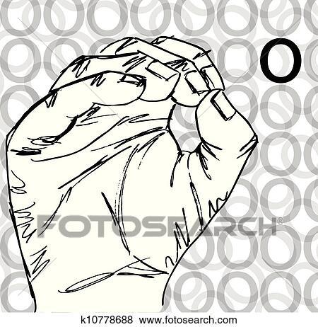 Clip Art Of Hand Gestures Letter O K10778688